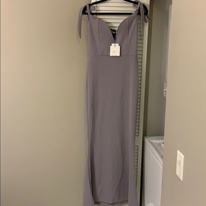 Long grey/purple fitted misguided gown